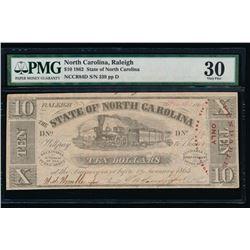 1862 $10 North Carolina Obsolete Note PMG 30
