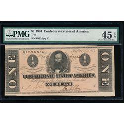 1864 $1 Confederate States of America Note PMG 45EPQ