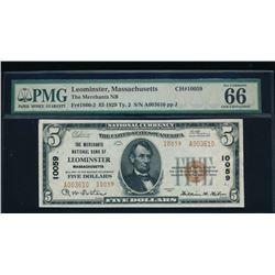 1929 $5 Leominster National Bank Note PMG 66EPQ