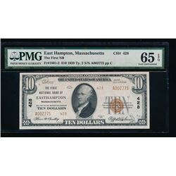 1929 $10 East Hampton National Bank Note PMG 65EPQ