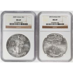 Lot of 2009-2010 $1 American Silver Eagle Coins NGC MS69