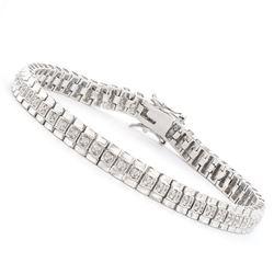 Plated Rhodium 0.58ctw Diamond Bracelet