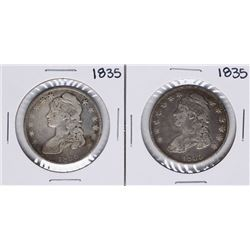 Lot of (2) 1835 Capped Bust Half Dollar Coins