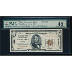 1929 $5 New York National Bank Note PMG 45