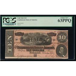 1864 $10 Confederate States of America Note PCGS 63PPQ