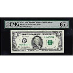 1990 $100 Federal Reserve STAR Note Dallas Fr.2173-K* PMG Superb Gem Unc 67EPQ