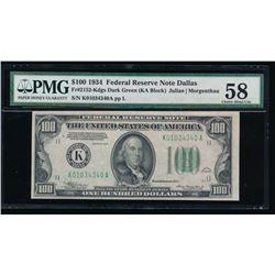 1934 $100 Dallas Federal Reserve Note PMG 58