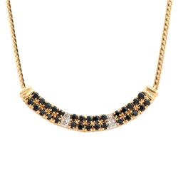 Plated 18KT Yellow Gold 2.25ctw Black Sapphire and Diamond Pendant with Chain