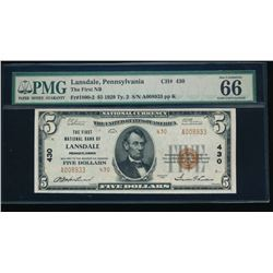 1929 $5 Lansdale National Bank Note PMG 66EPQ