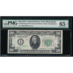 1934 $20 Minneapolis Federal Reserve Note PMG 65EPQ