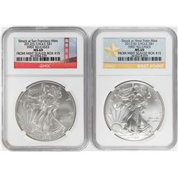 Lot of (2) 2012 -S/W $1 American Silver Eagle Coins NGC MS69 First Releases