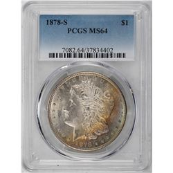 1878-S $1 Morgan Silver Dollar Coin PCGS MS64 Amazing Toning