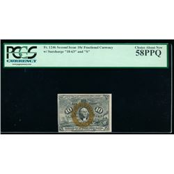 10 Cent Second Issue Fractional Note PCGS 58PPQ