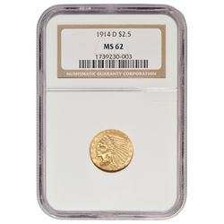 1914-D $2.5 Indian Head Quarter Eagle Gold Coin NGC MS62