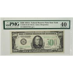 1934A $500 New York Federal Reserve Note PMG 40