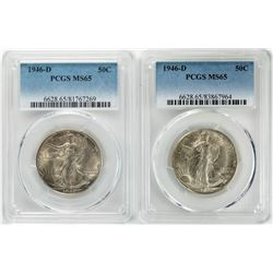 Lot of (2) 1946-D Walking Liberty Half Dollar Coins PCGS MS65