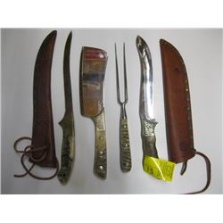 Set of 3 knives & fork 2 leather sheaths, cleaver
