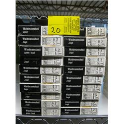 "20 boxes of 10 Waidmannsheil 20 ga 2 3/4"" various shot size"
