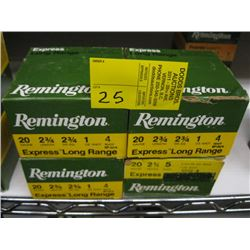 "4 boxes of 25 Remington 20 ga 2 3/4"" #4 & #5 shot"