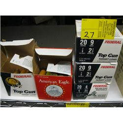 "3 Boxes of 25 Federal 20 ga 2 3/4"" #9 shot & 2 part boxes of"