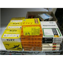3 boxes of 25, 6 boxes of 10 Eley 20 ga, 5 boxes Rottweil &