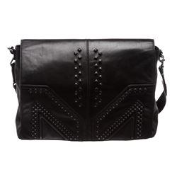 MCM Black Leather Messenger Bag