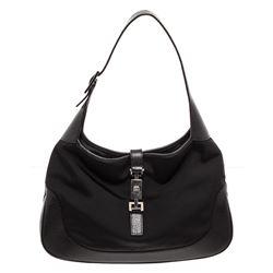 Gucci Canvas/Leather Trim Jackie Bag