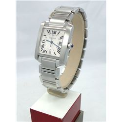 CARTIER TANK FRANCAISE LARGE AUTOMATIC STAINLESS STEEL WATCH