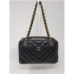 Chanel  Black Leather Bag Gold Chain