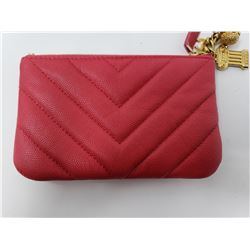 CHANEL Caviar Chevron Quilted Small Ancient Greek Charms Cosmetic Case Fuchsia