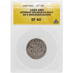 1689 Germany-Brunswick-Wolf 6 Mariengroschen Silver Coin ANACS XF40