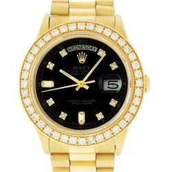 Rolex Mens 18K Yellow Gold Black Diamond 2.5 ctw Quickset President Wristwatch W