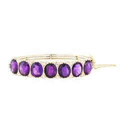 33.30 ctw Amethyst And Diamond Bangle Bracelet - 14KT Yellow Gold