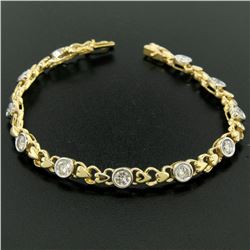 18k Yellow Gold 2.15 ctw Bezel Round Brilliant Diamond Open Heart Tennis Bracele