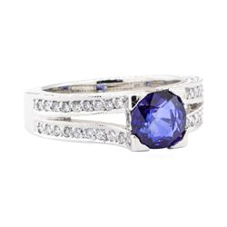 2.35 ctw Sapphire And Diamond Ring - 14KT White Gold