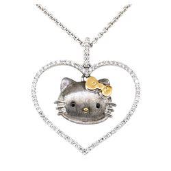 Sanrio 0.60 ctw Heart Shaped Hello Kitty Diamond Pendant with Chain  - 18KT Whit
