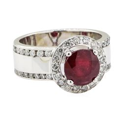 3.41 ctw Ruby and Diamond Ring - 14KT White Gold