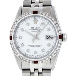Rolex Mens Stainless Steel White Diamond & Ruby 36MM Datejust Wristwatch