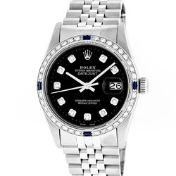 Rolex Mens Stainless Steel Slate Black Diamond & Sapphire Datejust Wristwatch