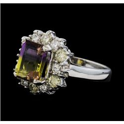 2.50 ctw Ametrine Quartz and Diamond Ring - 14KT White Gold