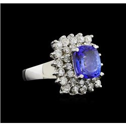 14KT White Gold 4.33 ctw Tanzanite and Diamond Ring