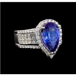 18KT White Gold 3.66 ctw Tanzanite and Diamond Ring