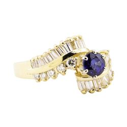 2.03 ctw Blue Sapphire And Diamond Ring - 14KT Yellow Gold