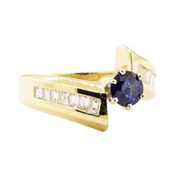 1.31 ctw Blue Sapphire and Diamond Ring - 14KT Yellow Gold