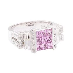 1.30 ctw Pink Sapphire And Diamond Ring - 14KT White Gold