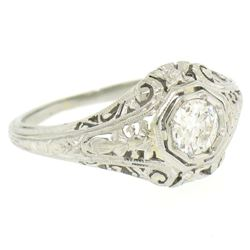 18k White Gold Filigree 0.41 ctw European Cut Diamond Ring