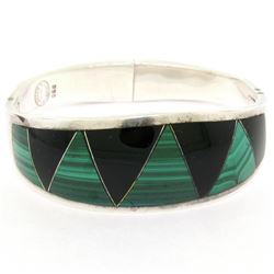 .950 Taxco Silver Designers Malachite & Black Onyx Inlay Bangle Bracelet