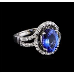 3.00 ctw Tanzanite and Diamond Ring - 14KT White Gold