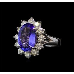 4.68 ctw Tanzanite and Diamond Ring - 14KT White Gold