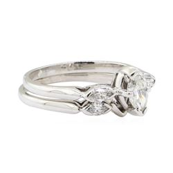 0.50 ctw Diamond Wedding Set - 18KT White Gold